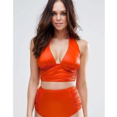 ASOS FULLER BUST Mix and Match Glam Gathered Deep Band Plunge Bikini Top - Orange