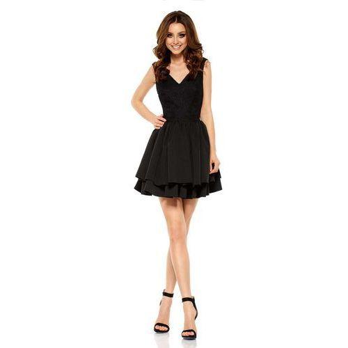 Czarna Wieczorowa Sukienka z Koronką z Rozkloszowanym Dołem, wieczorowa