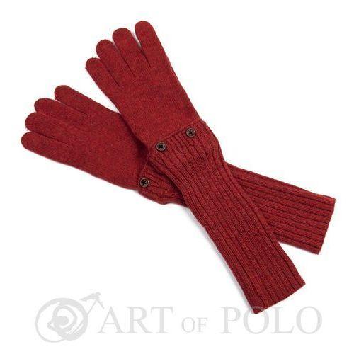 Ciemnorude uniwersalne rękawiczki 3 w 1 długie, krótkie, mitenki - rudy marki Evangarda