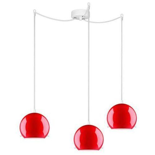LAMPA wisząca MYOO 3/S/RED/OPAL Sotto Luce szklana OPRAWA nowoczesna ZWIS kule czerwone, MYOO 3/S/RED/OPAL