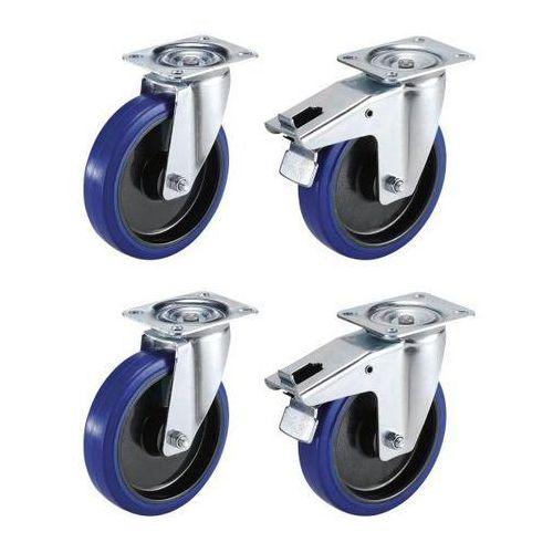 Proroll Zestaw z opon elastycznych na feldze z tworzywa, 2 x rolki skrętne i 2 x rolki s