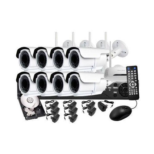 Zestaw do monitoringu ip: rejestrator sieciowy 8 kanałowy, 8 x kamera lv-ip22zw, dysk 1tb, akcesoria marki Ivelset