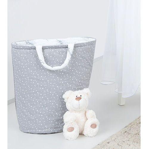 MAMO-TATO Dwustronny kosz na zabawki Mini gwiazdki białe na szarym / wróżki szare