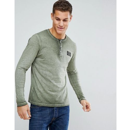 Tom Tailor Long Sleeve T-Shirt With Grandad Neck - Green