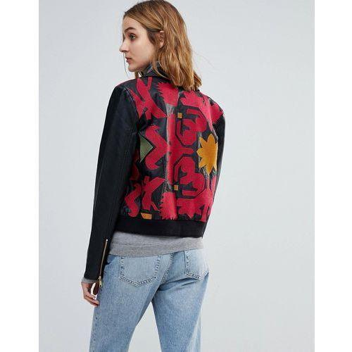 embroidered vegan leather moto jacket - black, Free people, 34-38