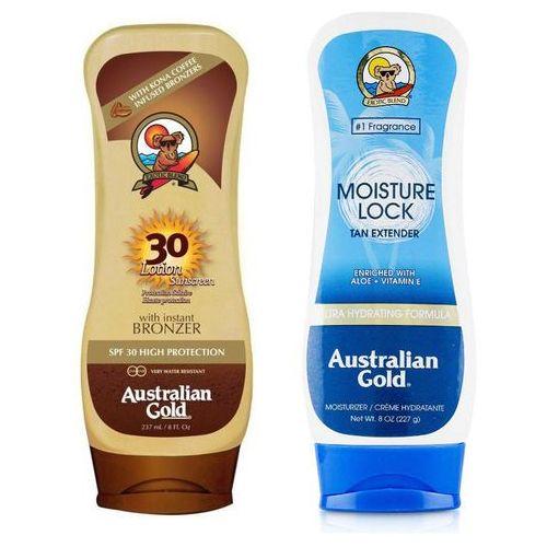 Australian gold lotion bronzer spf30 and moisture lock | zestaw do opalania: balsam do opalania z bronzerem 237ml + balsam po opalaniu 227g