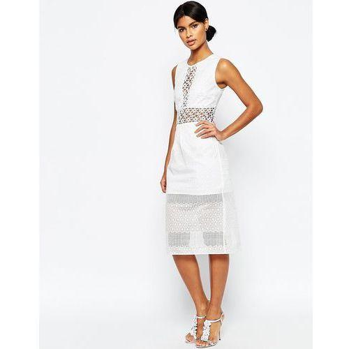 ASOS Mix Lace Panelled Midi Pencil Dress - White