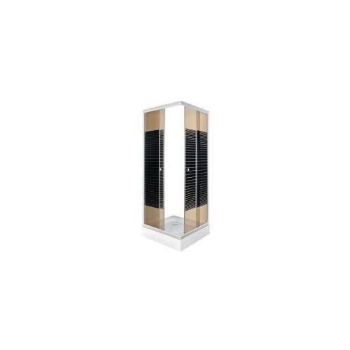 KERRA PICO STRIPE Kabina prysznicowa 90x90 + brodzik, profile satyna, szkło brązowe z dekorem, PICO_STRIPE_90
