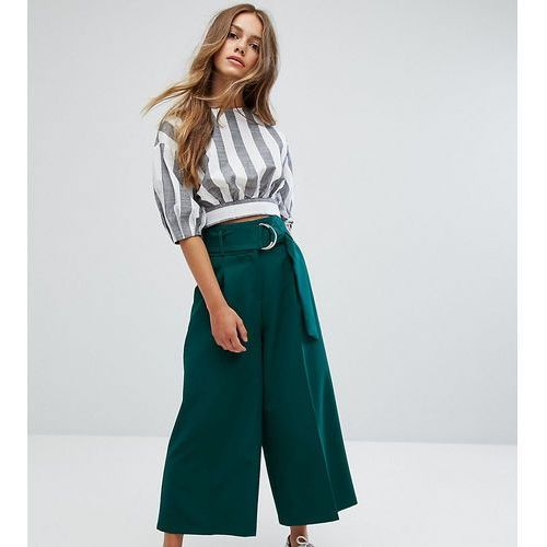 clean culotte with oversized d ring detail belt - green, Asos petite