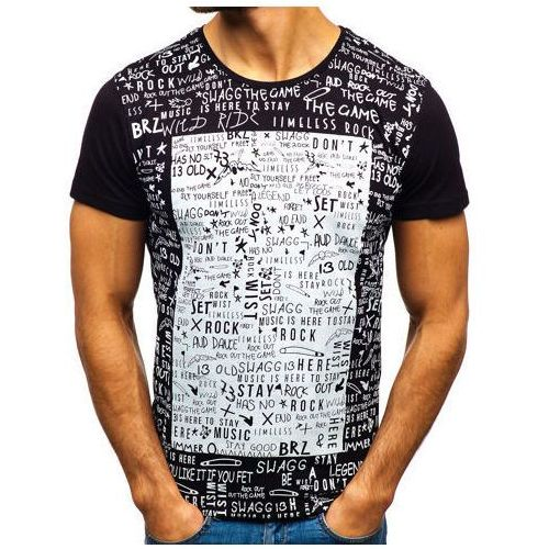 T-shirt męski z nadrukiem czarny Denley 1173, kolor biały