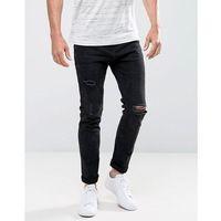 skinny jeans with rips in black wash - black marki Bershka