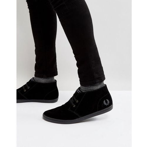 Fred perry byron mid suede trainers in black - black