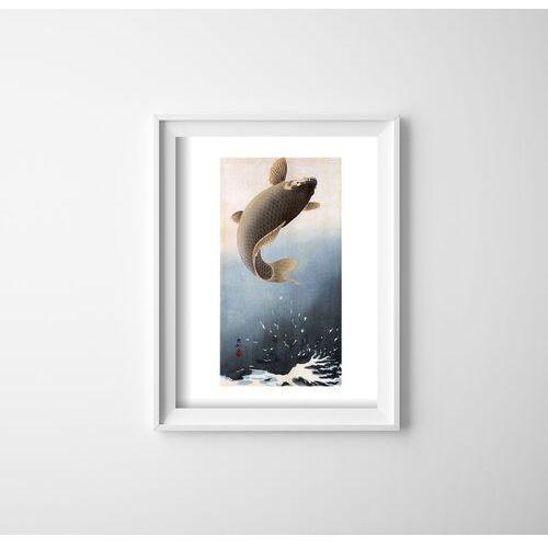 Plakat w stylu retro plakat w stylu retro skaczący karp autorstwa ohary koson marki Vintageposteria.pl