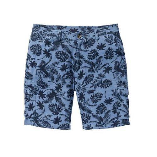 Bermudy dresowe bonprix niebieski dżins z nadrukiem