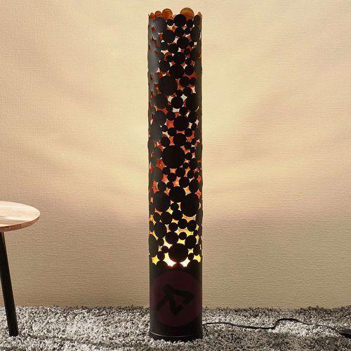 Lampa stojąca LED Coins, efekt migotania, czarna (4251096552881)