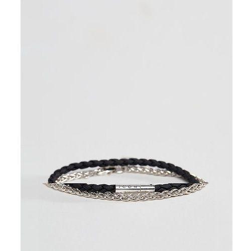 grey plaited & gold chain bracelet - grey marki Icon brand