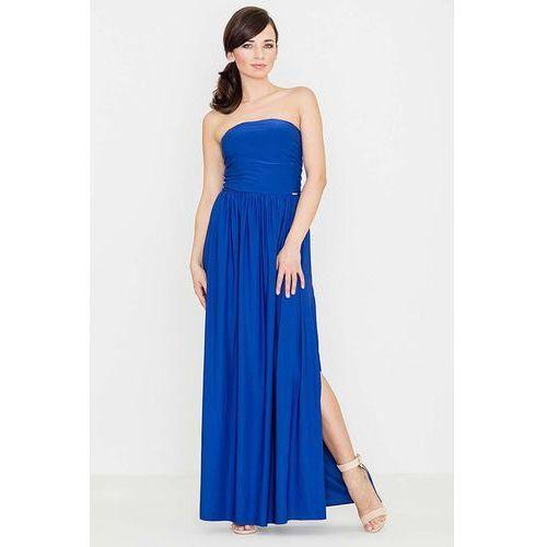 Niebieska Zmysłowa Gorsetowa Maxi Sukienka, gorsetowa