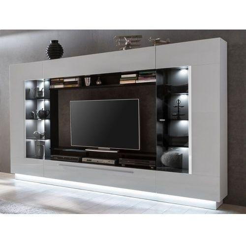 Ścianka RTV BLAKE z półkami — oświetlenie LED — biały lakier