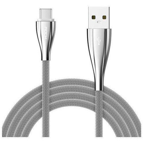 Kabel METALOWY ROCK iPhone 5/6 srebrny - srebrny