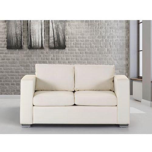 Skórzana sofa dwuosobowa beżowa - kanapa - HELSINKI z kategorii Sofy