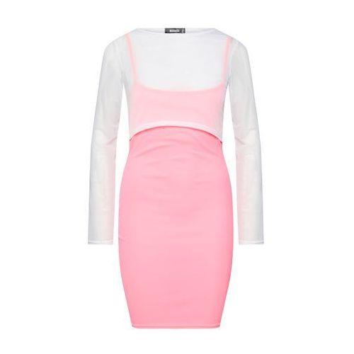 Missguided Sukienka różowy pudrowy / biały