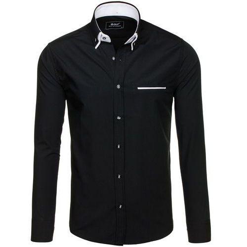 Czarna koszula męska elegancka z długim rękawem Bolf 6958 - CZARNY, koszula męska BOLF