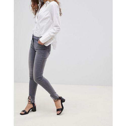 skinny jeans with diagonal raw hem - grey marki Parisian