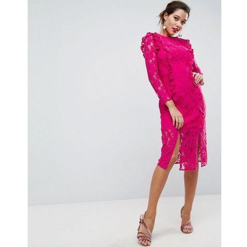 Asos lace ruffle midi column dress - pink