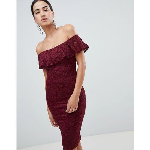 Ax paris bardot frill overlay lace midi dress - red