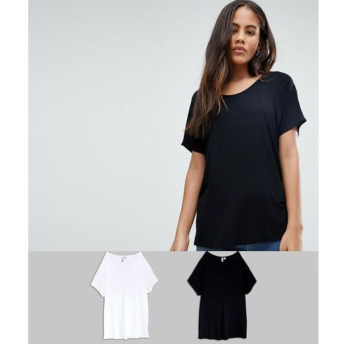 ASOS DESIGN Tall t-shirt with drapey batwing sleeve 2 pack SAVE - Multi