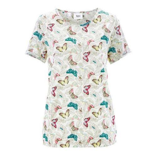 Shirt z krótkim rękawem, z przędzy mieszankowej biel wełny z nadrukiem, Bonprix, 44-46