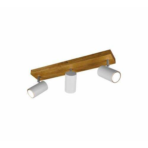 Trio Marley 812400331 plafon lampa sufitowa 3x35W GU10 biały mat/drewno