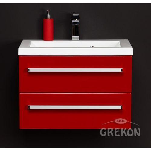 Czerwona szafka wisząca z umywalką 60/39/2 seria Fokus CZ, kolor czerwony