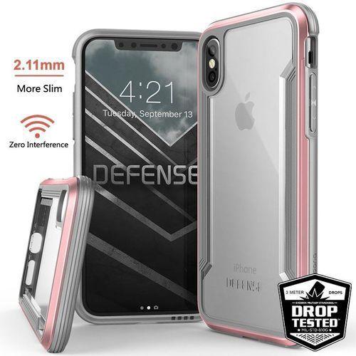 X-Doria Defense Shield - Etui aluminiowe iPhone Xs / X (Drop test 3m) (Rose Gold/Clear)