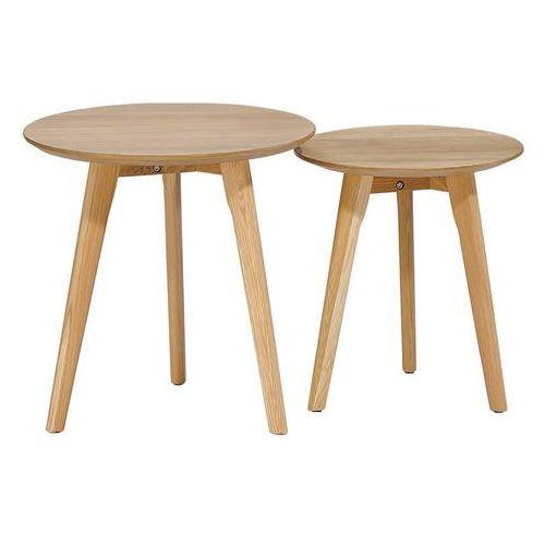 Zestaw stolików kawowych SLOW DUO dąb - MDF, nogi dębowe (5900000044606)