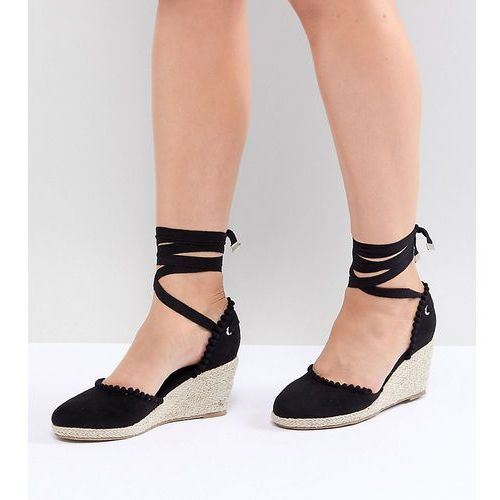 Truffle Collection Wide Fit Pom Espadrille Wedge - Black