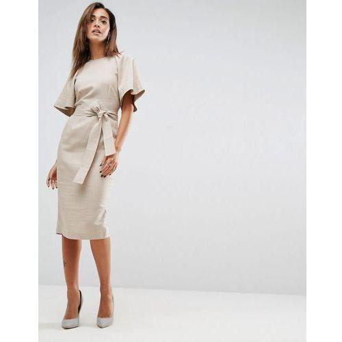 shoulder detail pencil dress in linen with obi belt - brown, Asos