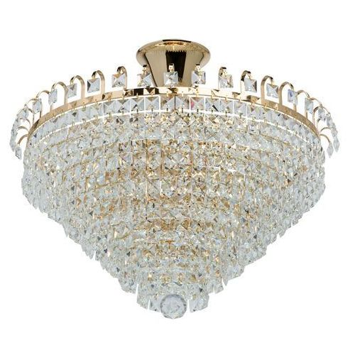 Efektowna lampa sufitowa złota podstawa i kryształy MW-LIGHT Crystal (642011005)