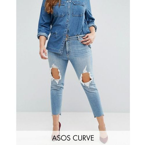 ASOS CURVE Kimmi Boyfriend Jean in Lillian with Rips and Stepped Hem - Blue
