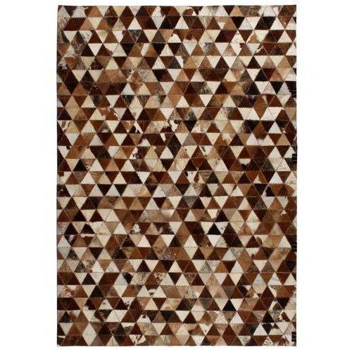 Dywan patchwork z trójkątów, skóra, 120x170 cm, brązowo-biały marki Vidaxl