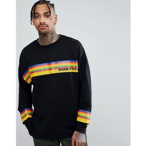 Asos design oversized long sleeve t-shirt with rainbow undefined print - black