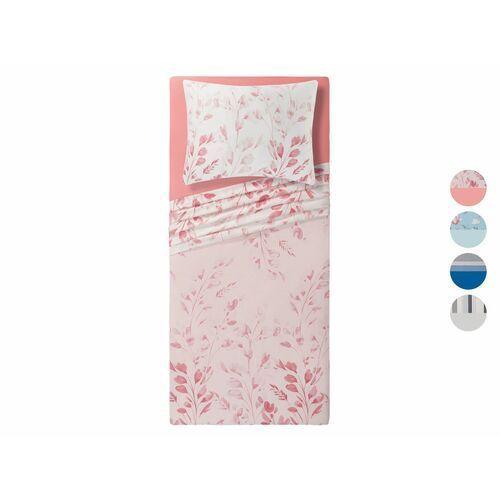 MERADISO® Komplet pościeli satynowej z bawełny i tencelu, 3 elementy