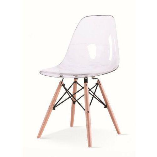 Krzesło ICE WOOD transparentne - poliweglan, podstawa bukowa