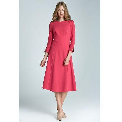 Sukienka Midi - fuksja - S64, kolor różowy