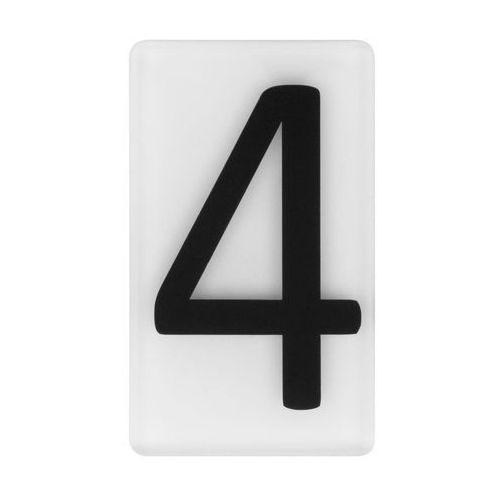 Cyfra 4 wys. 5 cm plexi czarna na białym tle (5905367009183)