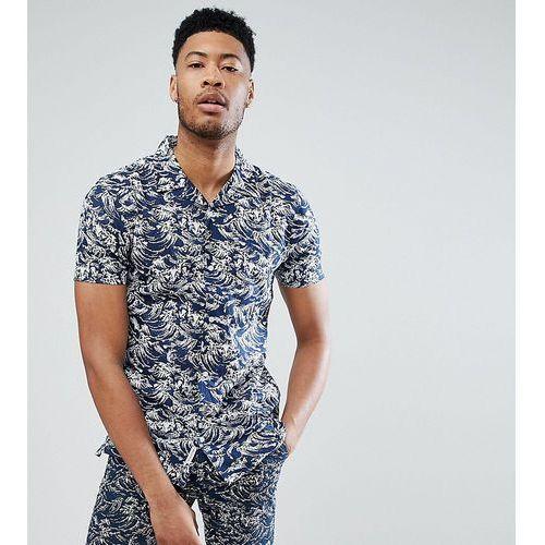 Bellfield TALL Short Sleeve Revere Collar Shirt With Wave Print - Navy
