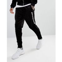 Sixth june skinny joggers in black velour with logo - black