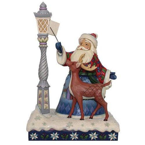 Jim shore Mikołaj zapalający latarnie wigilijne zadanie - led santa by lighted lamppost 6000673 figurka ozdoba świąteczna led