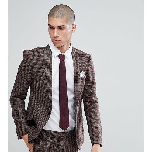 super skinny suit jacket in dogstooth fleck - brown, Heart & dagger