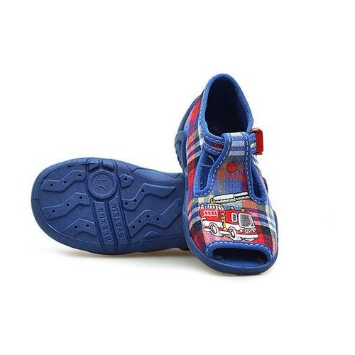 Sandałki dziecięce Befado 217P059 Granatowe kratka 18x4 19x4, kolor niebieski